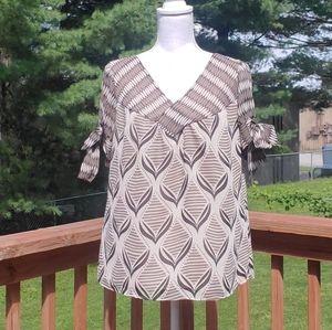 Worthington gray cream bows blouse XL